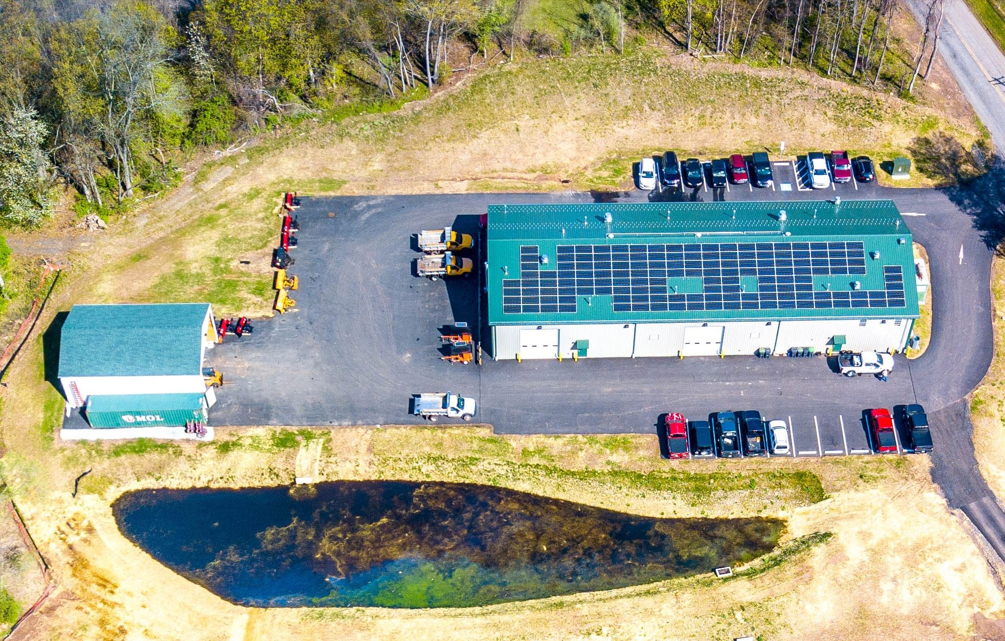 Aerial view of solar panels on Public Works building