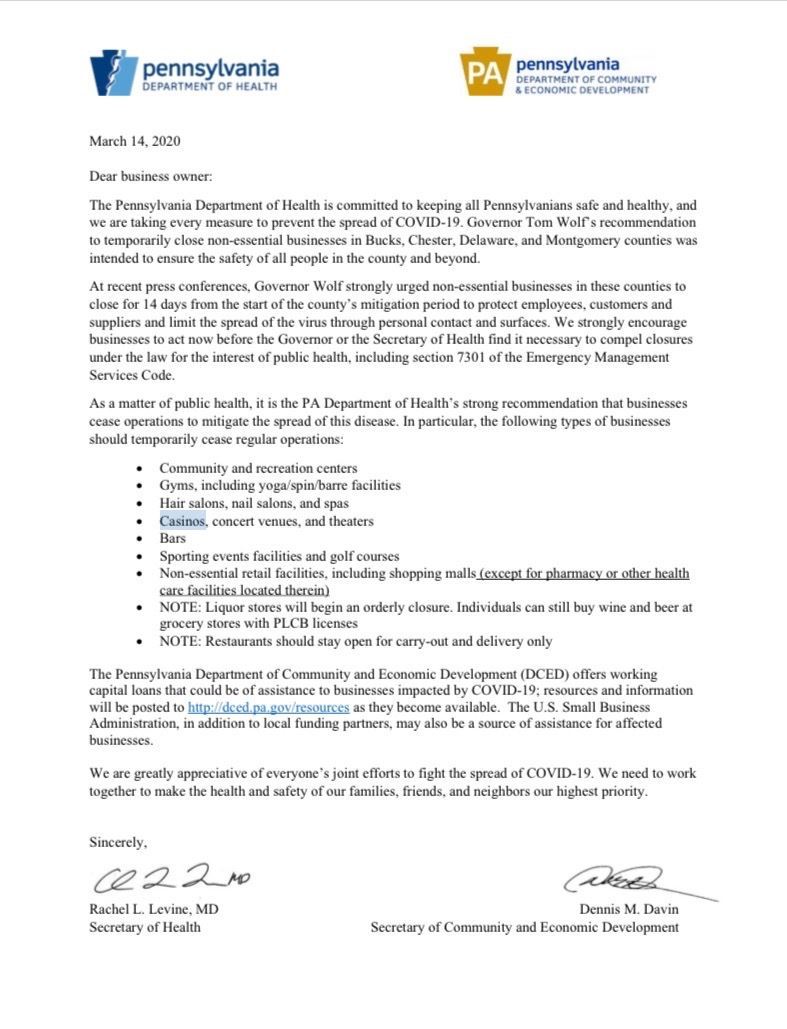 Letter From the PADOH & Governor Wolf  RE: COVID-19 -  Business Recommendations